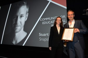 Community or Educational Project - Stuart Hancock and presenter Jessica Cottis - British Composer Awards 2015 - photo Mark Allan